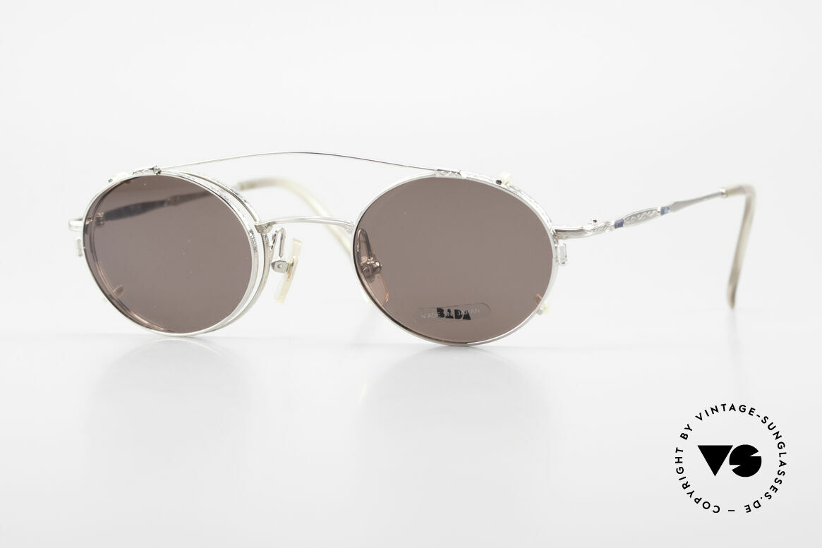 Bada BL1581 90er Brille Mit Sonnen Clip, alte VINTAGE BADA Sonnenbrille aus dem Jahre 1996, Passend für Herren und Damen