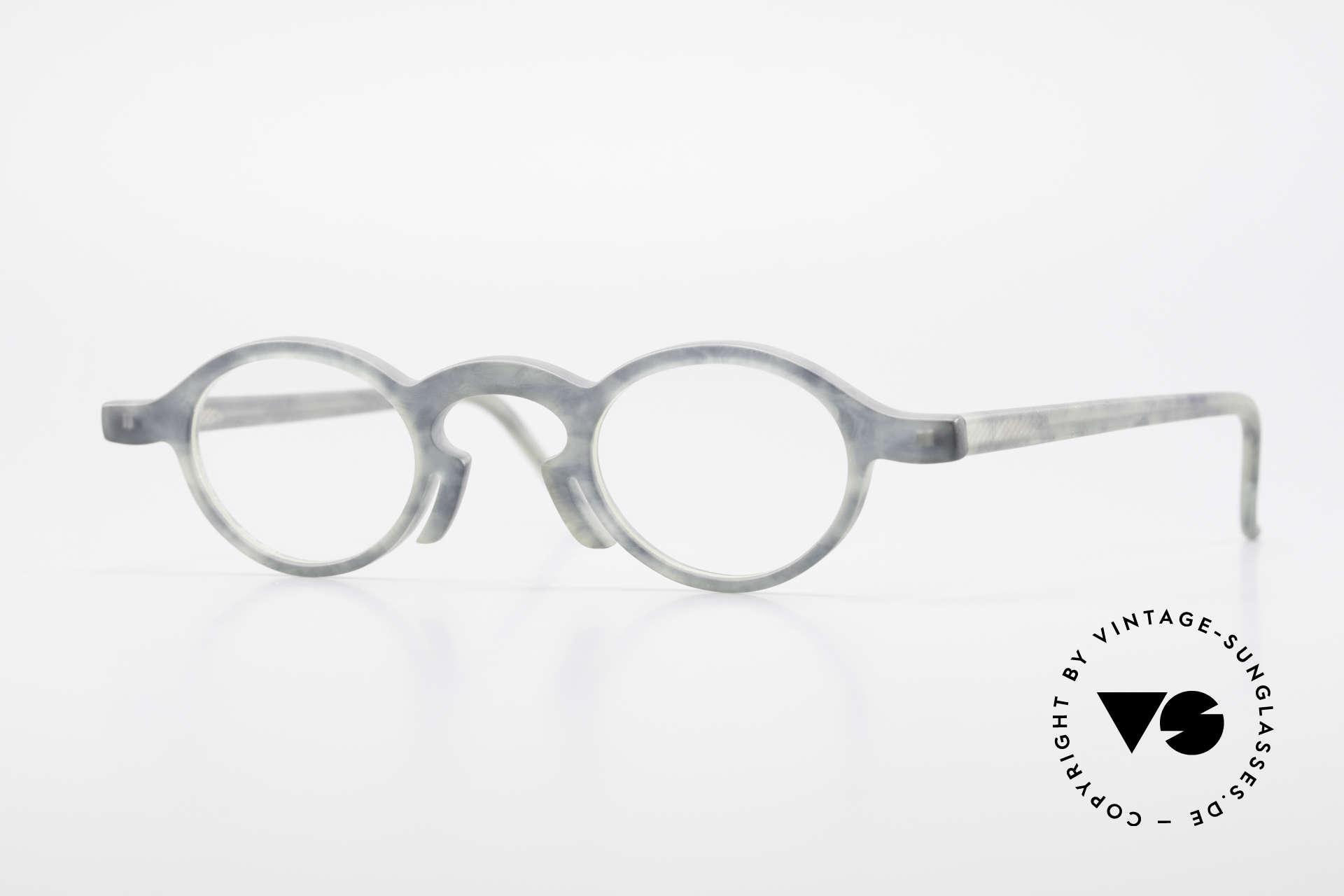 Theo Belgium Phone Interessantes Brillenmuster, vintage 90er Theo Belgium Brille in Elfenbein-Optik, Passend für Herren und Damen