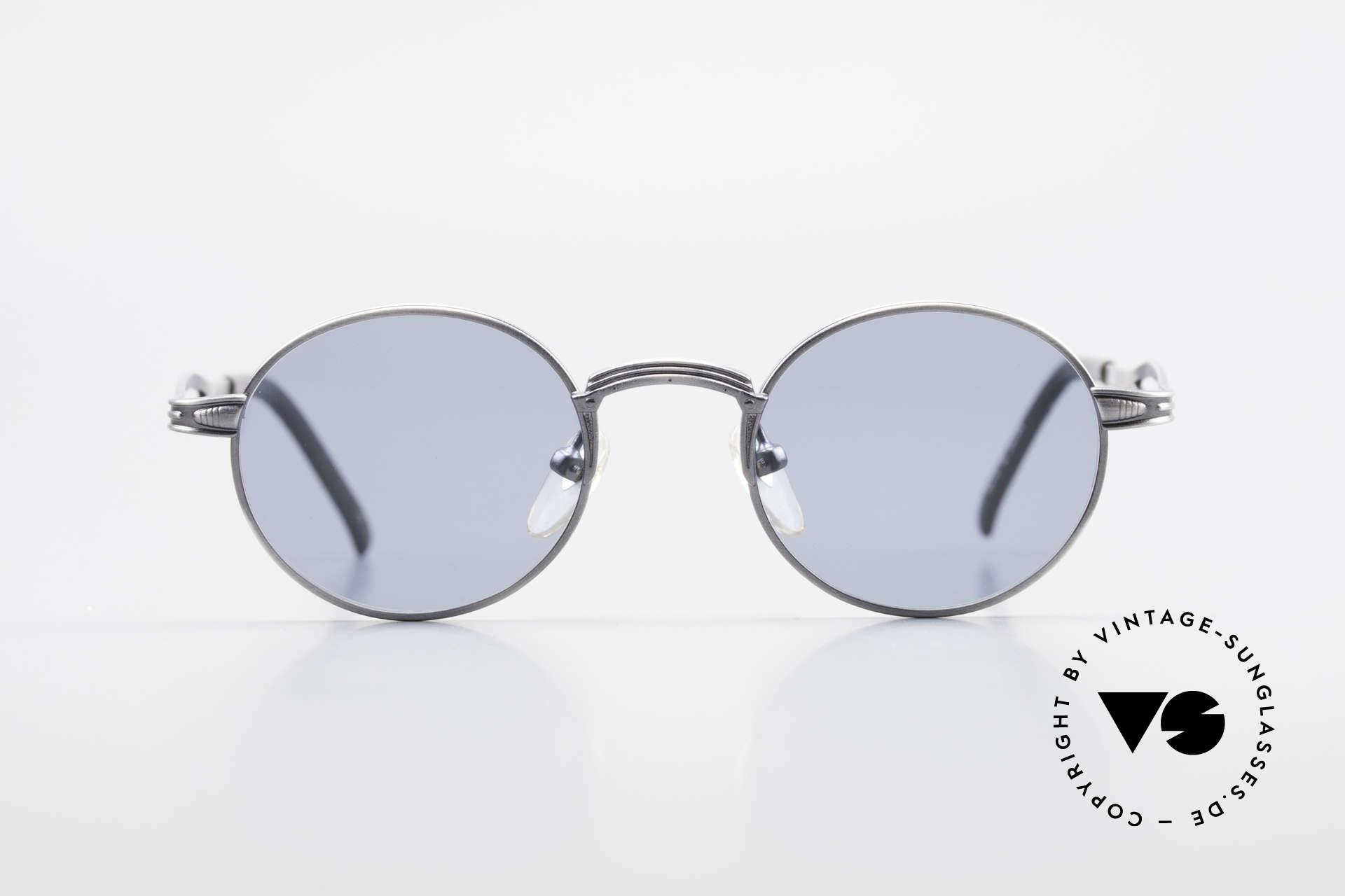 Jean Paul Gaultier 55-7107 Kleine Runde Vintage Brille, Fassung (SMALL Gr. 44/20) in 'metallic smoke silver', Passend für Herren und Damen