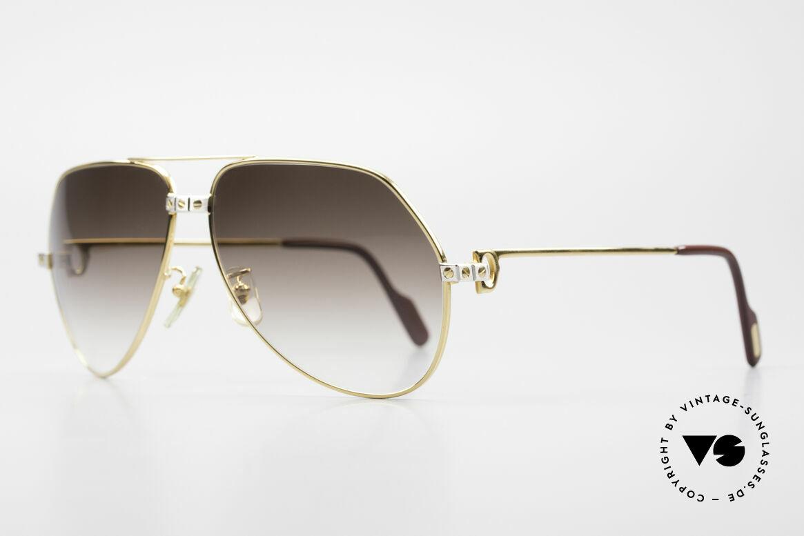 Cartier Vendome Santos - L Luxus Aviator Vintage Brille, Santos-Dekor (3 Schrauben) in LARGE Größe 62-14, 140, Passend für Herren