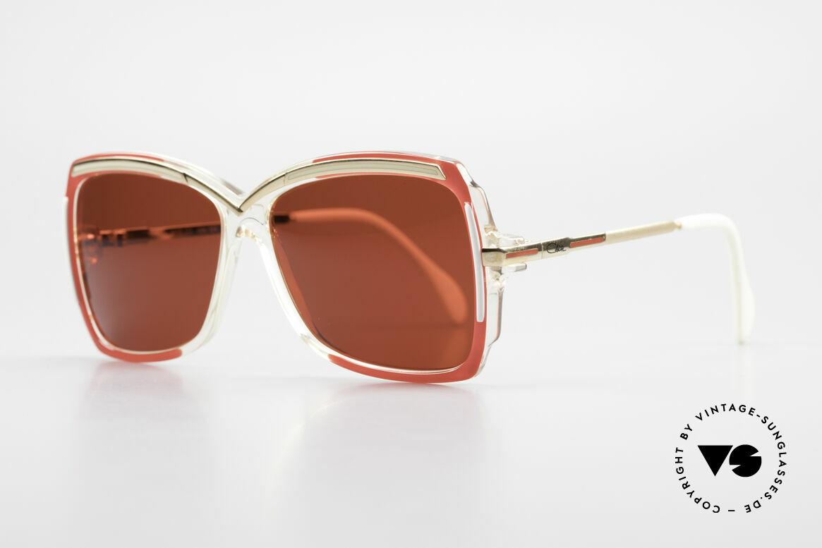 Cazal 177 3D Rot Designer Sonnenbrille, Rahmen in kristall-rot-weiss-gold (Designerstück), Passend für Damen