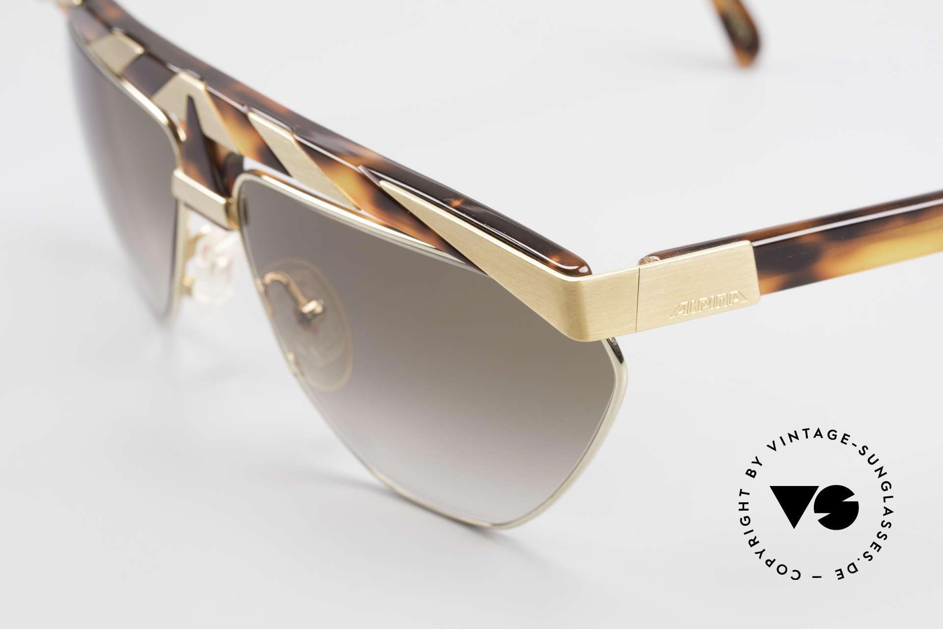 Alpina G84 Vergoldete 80er Sonnenbrille, Top-Qualität (24kt vergoldete Metall-Applikationen), Passend für Herren und Damen