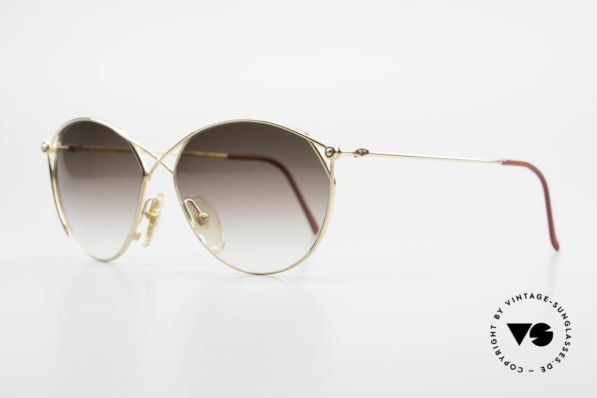 Christian Dior 2390 Damen Designer Sonnenbrille, schwungvoller Metall-Rahmen ist hart-VERGOLDET, Passend für Damen