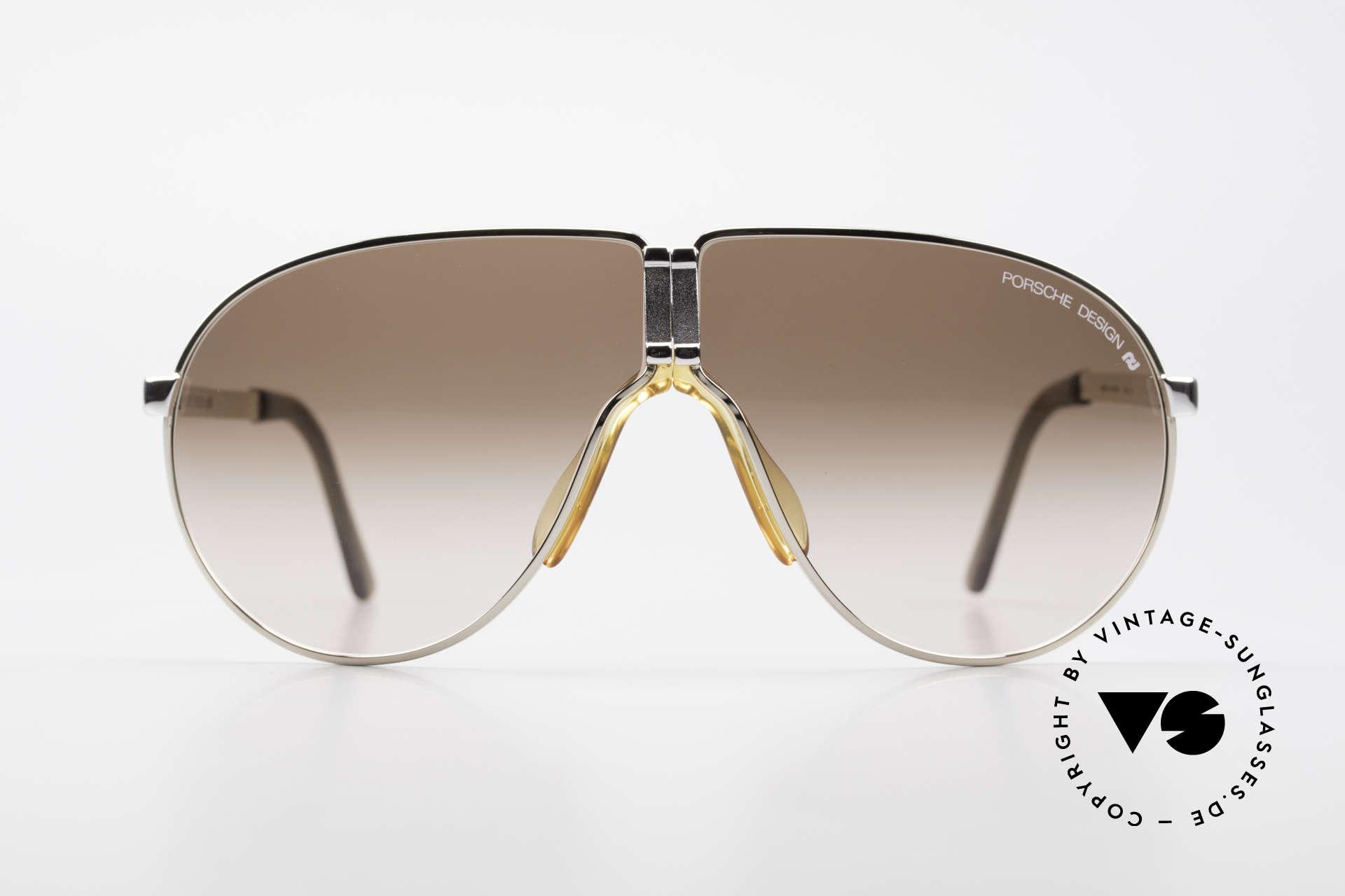 Porsche 5622 80er Luxus Faltsonnenbrille, Rahmen bicolor mit braunen Gläsern; echter Klassiker!, Passend für Herren