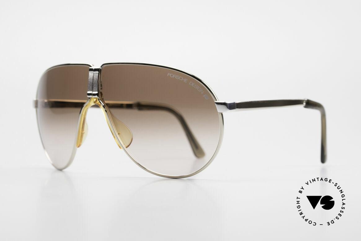 """Porsche 5622 80er Luxus Faltsonnenbrille, """"bicolor"""" = gold UND silber war damals total angesagt ;), Passend für Herren"""