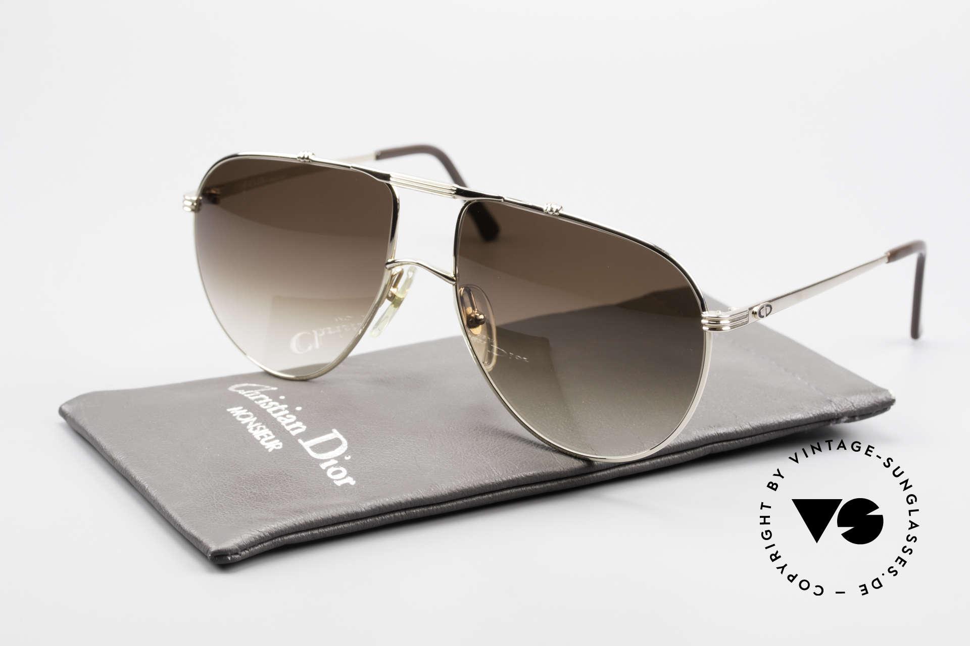 Christian Dior 2248 XL 80er Herren Sonnenbrille, Sonnengläser in braun-Verlauf (100% UV Protection), Passend für Herren