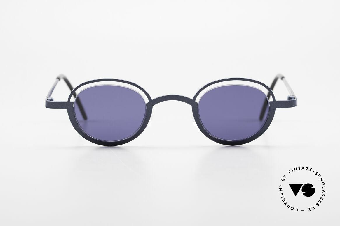 """Theo Belgium Dozy Slim 90er Unisex Sonnenbrille, originelles Modell: """"vollrand"""" und """"randlos"""" zugleich, Passend für Herren und Damen"""
