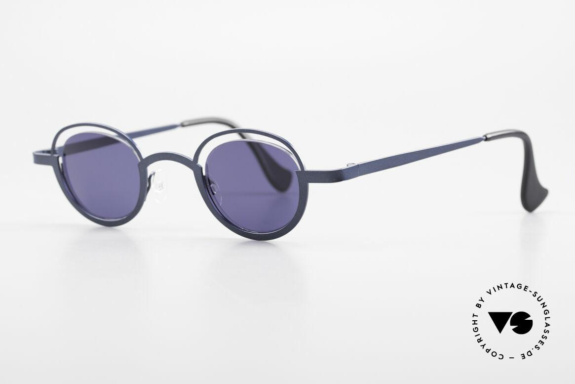 Theo Belgium Dozy Slim 90er Unisex Sonnenbrille, Gläser werden u.a. durch einen Nylor-Faden gehalten, Passend für Herren und Damen