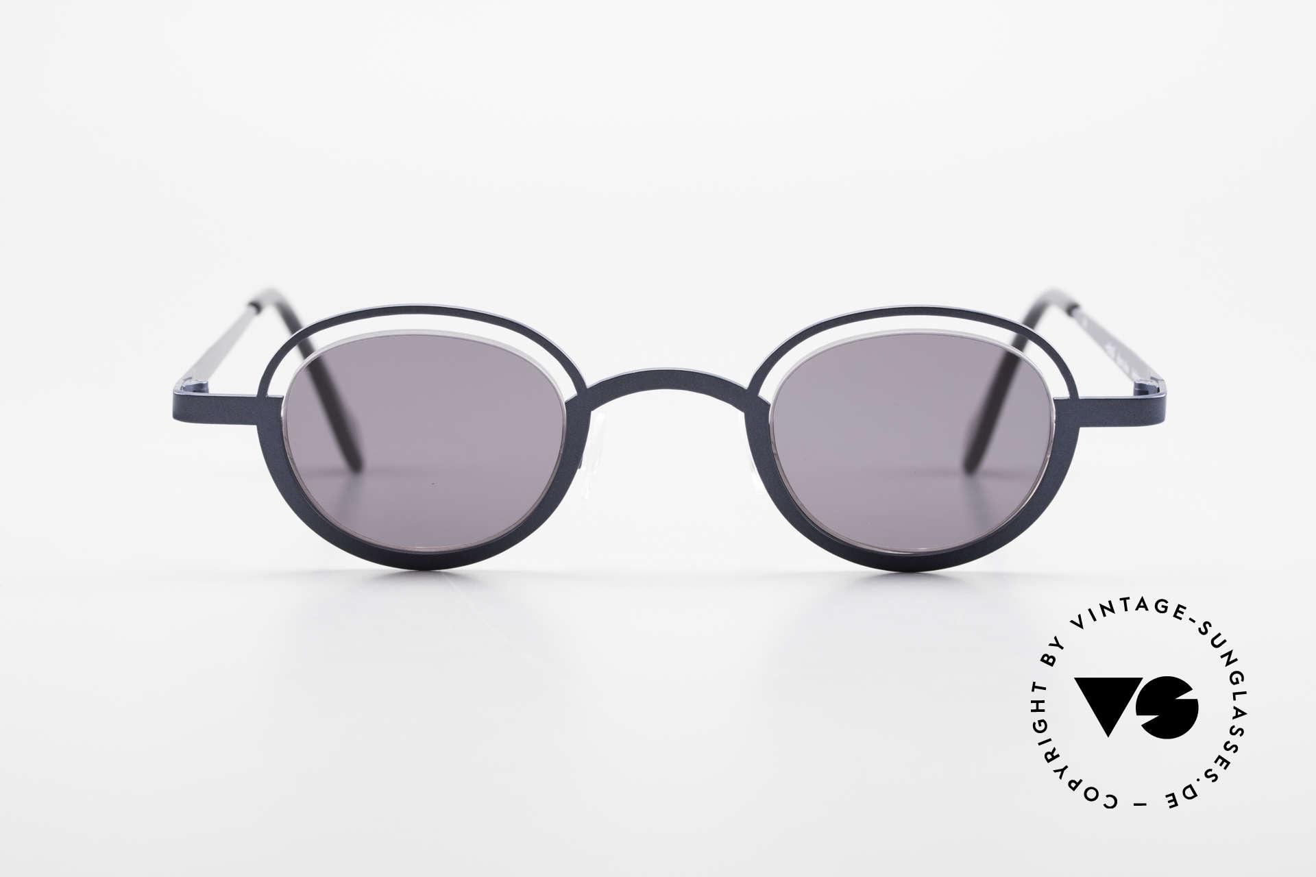 """Theo Belgium Dozy Slim Verrückte 90er Sonnenbrille, originelles Modell: """"vollrand"""" und """"randlos"""" zugleich, Passend für Herren und Damen"""