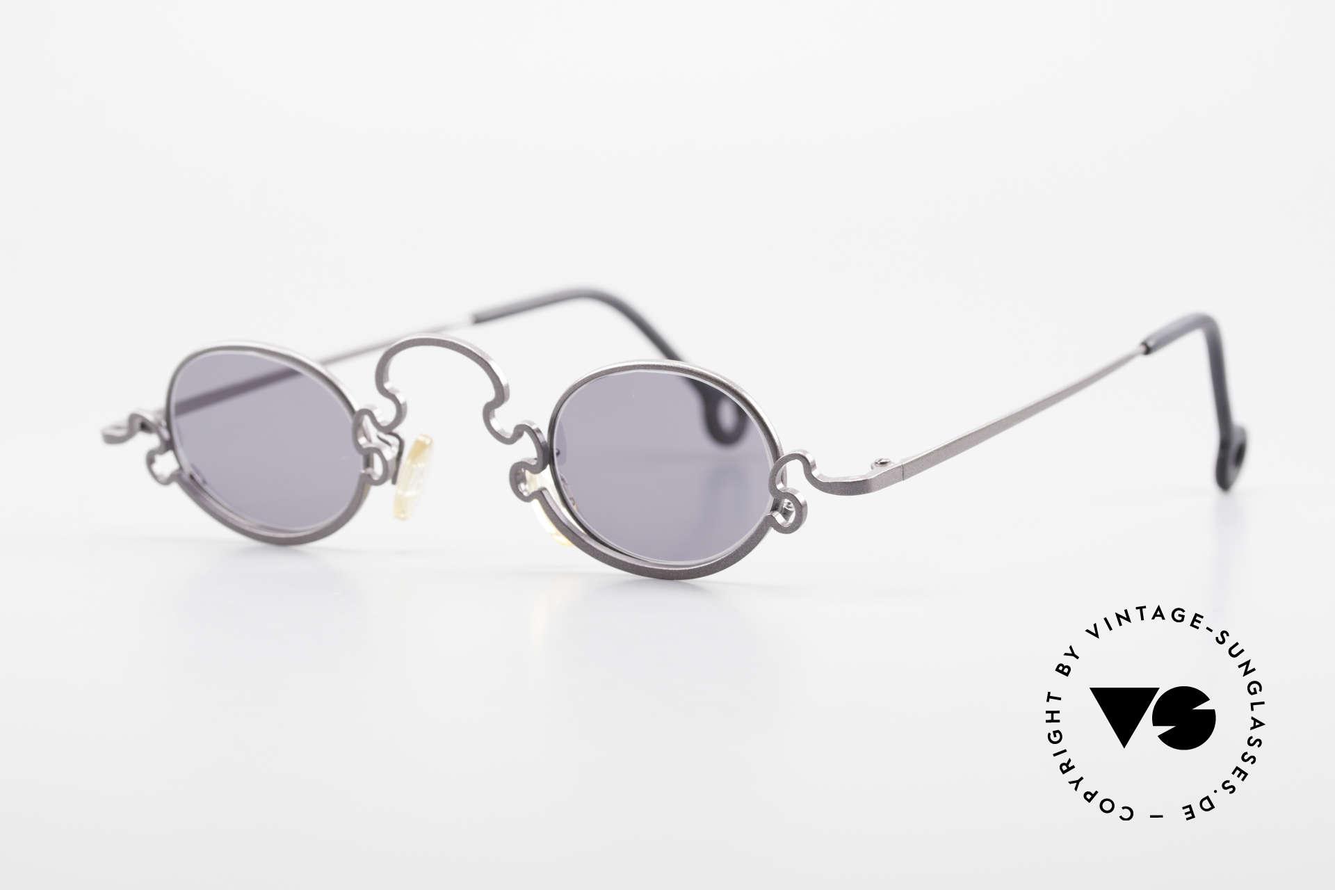 Theo Belgium Puzzle Spaghetti Sonnenbrille 90er, damals gemacht für die 'Avantgarde' und Individualisten, Passend für Damen