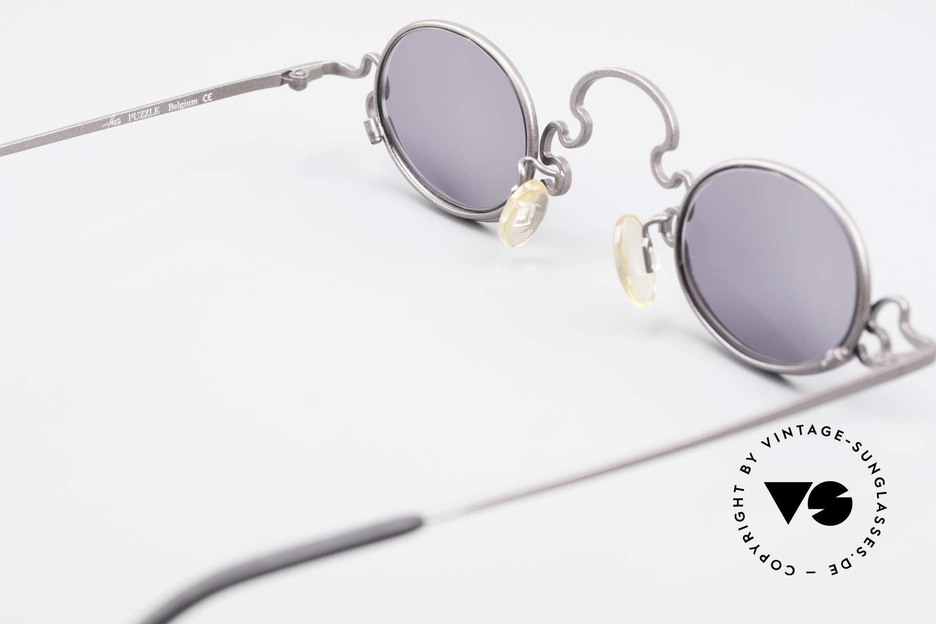 Theo Belgium Puzzle Spaghetti Sonnenbrille 90er, sozusagen: eine VINTAGE BRILLE mit Symbol-Charakter, Passend für Damen