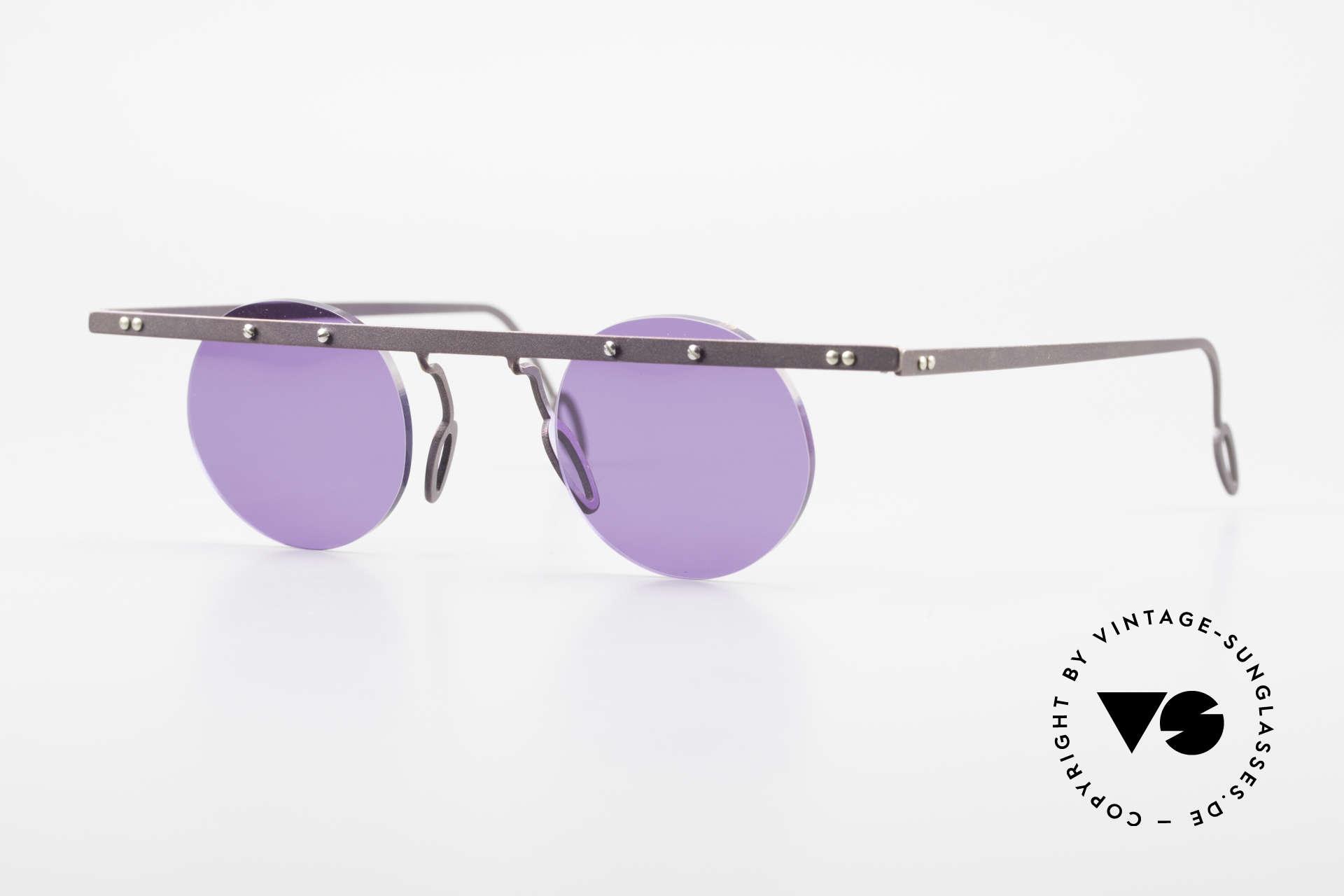 Theo Belgium Tita VII 5 Titanium 90er Sonnenbrille, Theo Belgium: die eigenwilligste Brillenmarke, weltweit, Passend für Herren und Damen