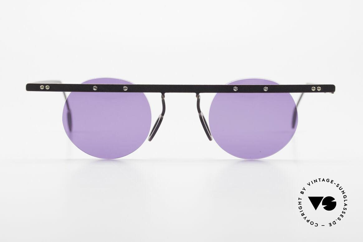 Theo Belgium Tita VII 5 Titanium 90er Sonnenbrille, in 1989 gegründet als 'ANTI MAINSTREAM' Brillenmode, Passend für Herren und Damen