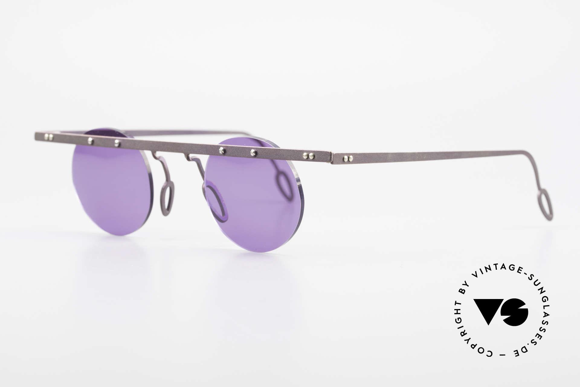 Theo Belgium Tita VII 5 Titanium 90er Sonnenbrille, TITA-Serie = XL Titanium Modelle von THEO der 1990er, Passend für Herren und Damen