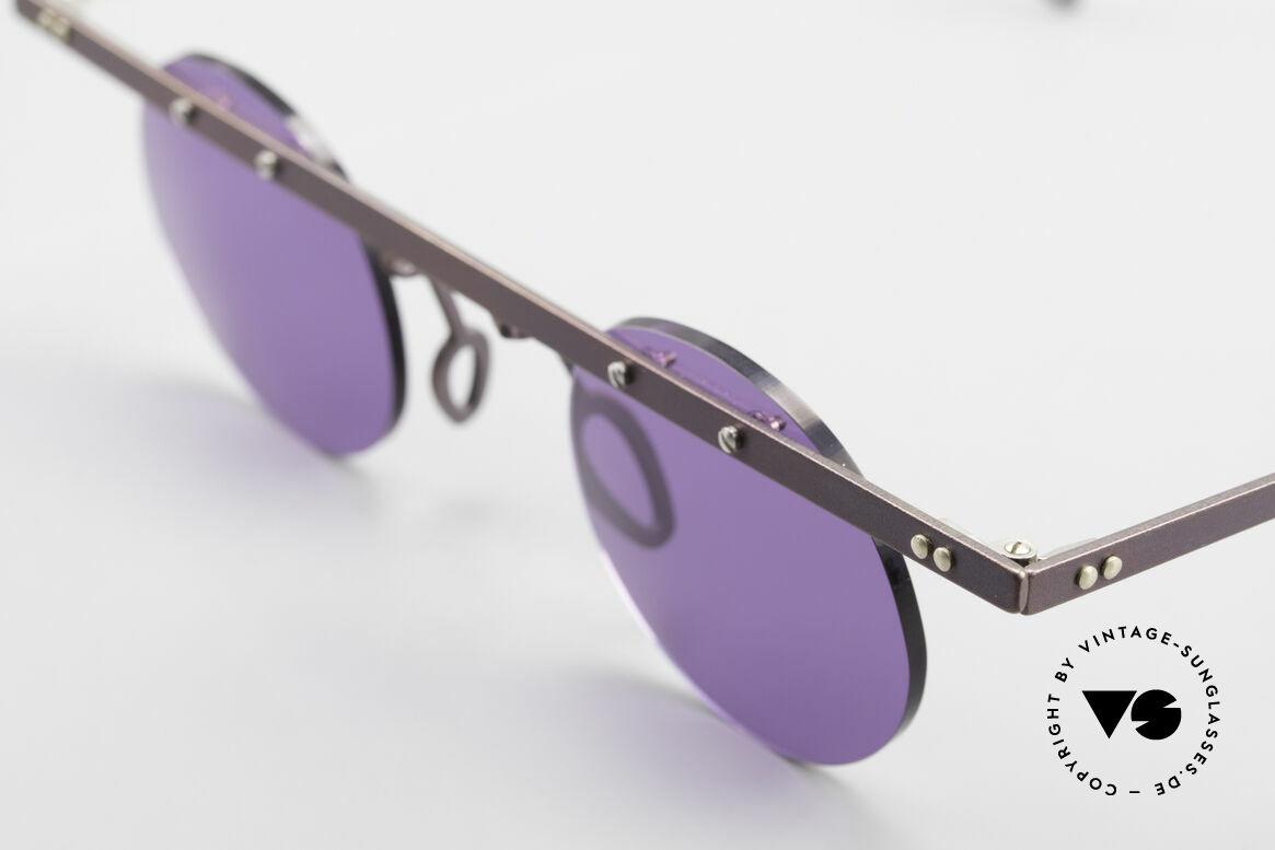 Theo Belgium Tita VII 5 Titanium 90er Sonnenbrille, die Gläser sind mit Schrauben am Titan-Rahmen fixiert, Passend für Herren und Damen