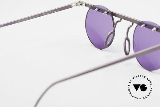 Theo Belgium Tita VII 5 Titanium 90er Sonnenbrille, runde Sonnengläser in violett (für 100% UV Protection), Passend für Herren und Damen
