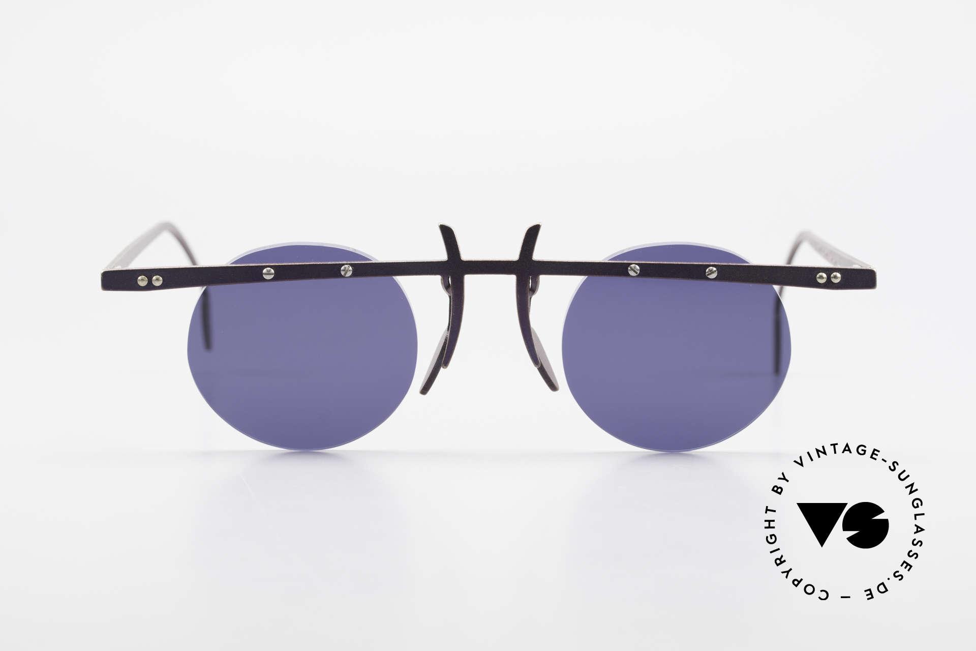 Theo Belgium Tita VI 4 Crazy Sonnenbrille 90er Titan, in 1989 gegründet als 'ANTI MAINSTREAM' Brillenmode, Passend für Herren und Damen