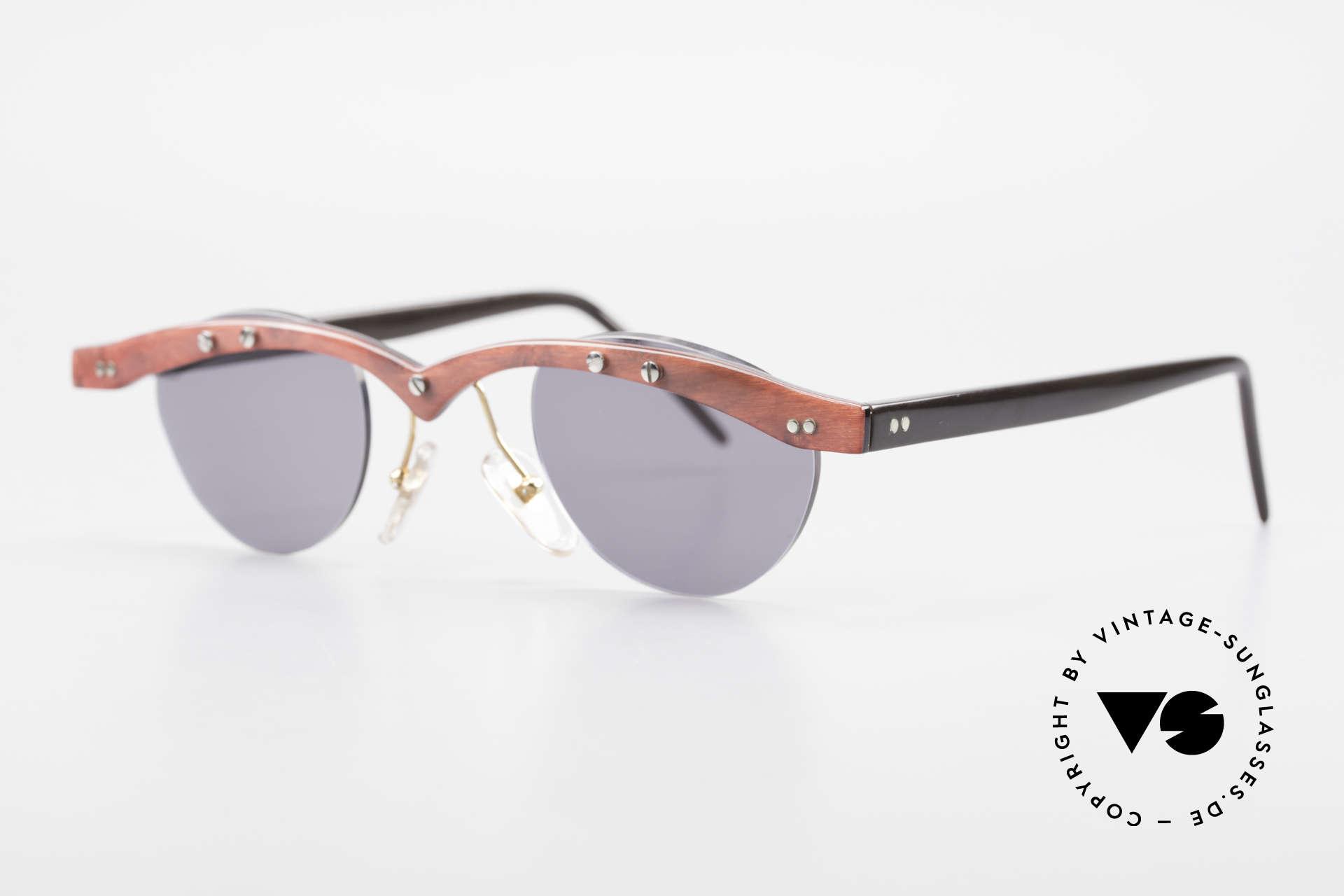 Theo Belgium Gamma Büffelhorn Sonnenbrille 90er, damals gemacht für die 'Avantgarde' und Individualisten, Passend für Herren und Damen