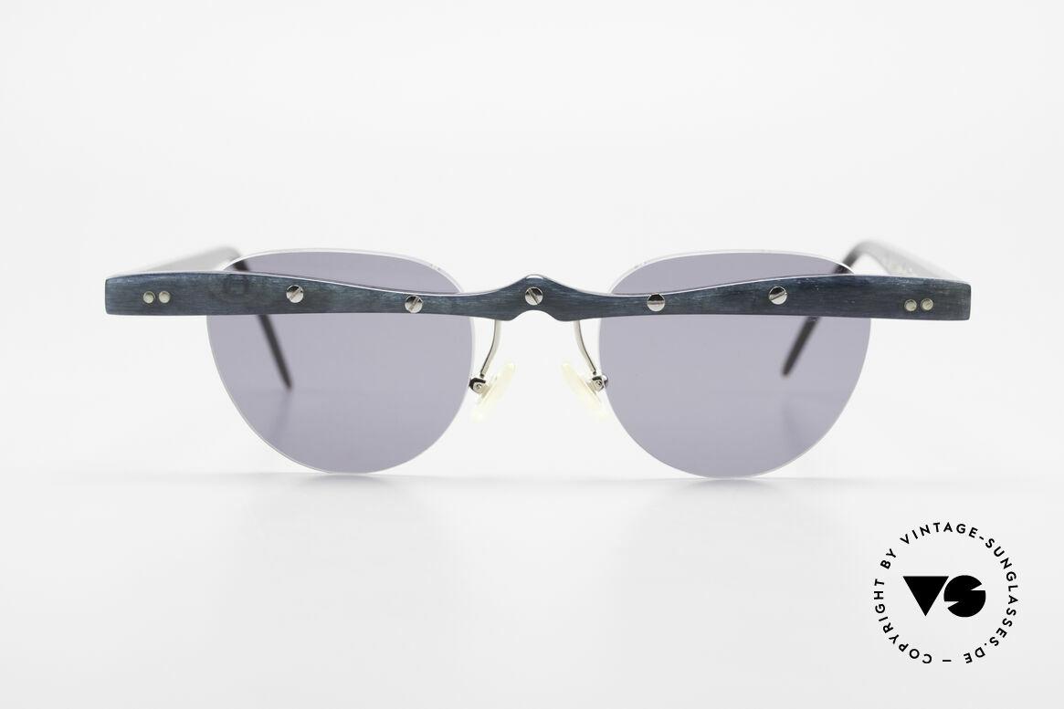 Theo Belgium Upsylon Büffelhorn Sonnenbrille 90er, in 1989 gegründet als 'ANTI MAINSTREAM' Brillenmode, Passend für Herren und Damen