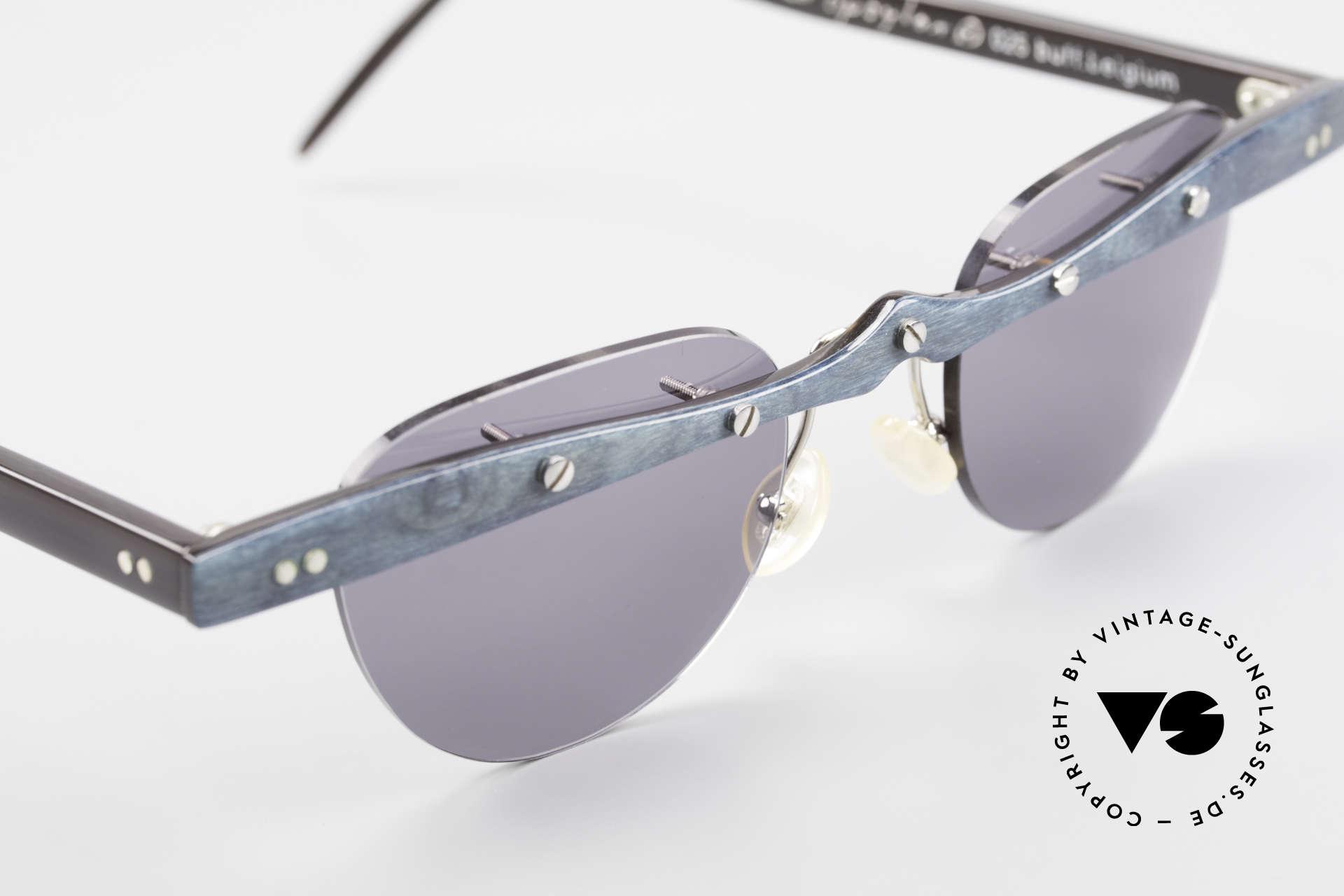 Theo Belgium Upsylon Büffelhorn Sonnenbrille 90er, ungetragenes Theo-Einzelstück für die, die sich trauen ;), Passend für Herren und Damen