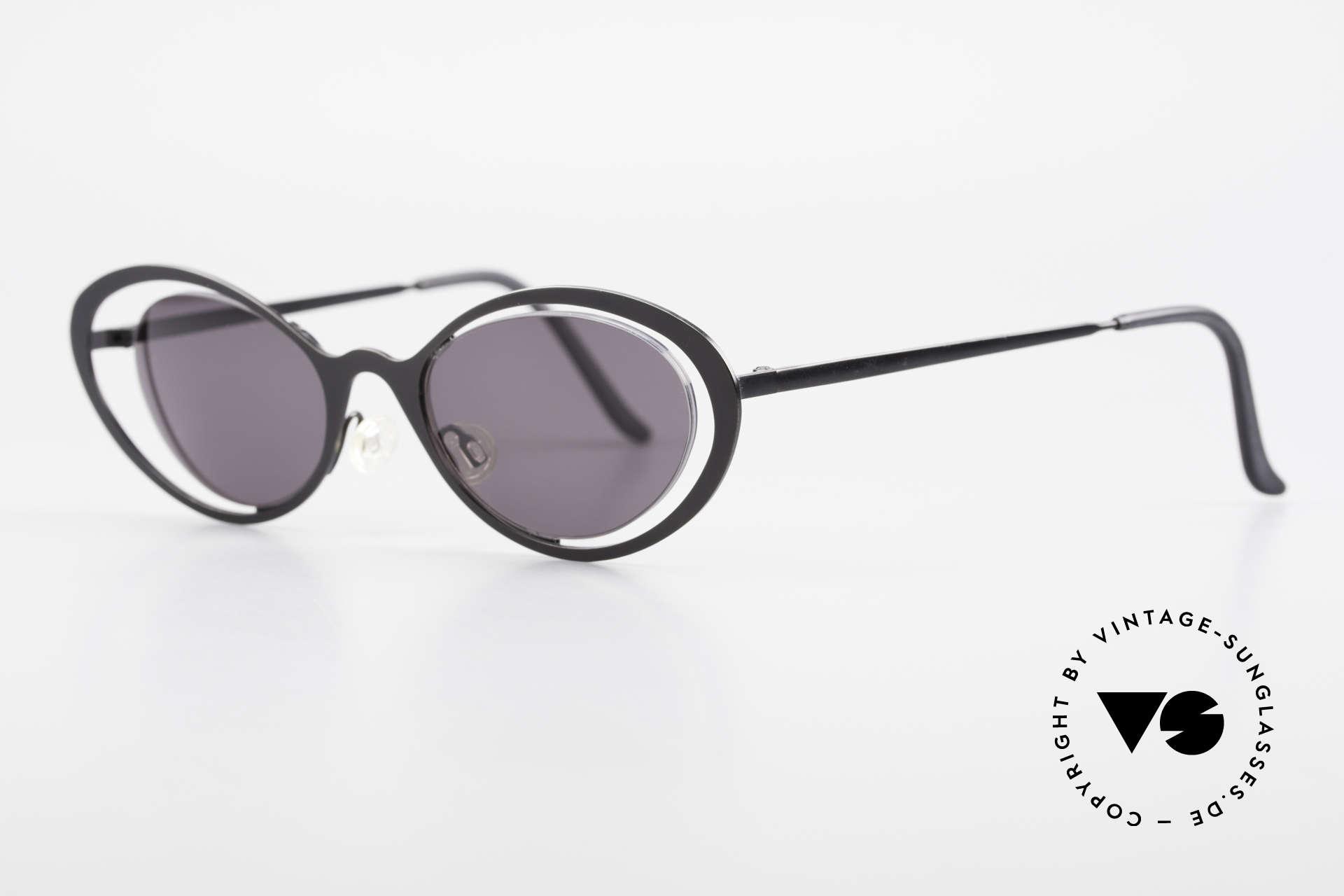 Theo Belgium LuLu Randlose Cateye Sonnenbrille, Gläser werden u.a. durch einen Nylor-Faden gehalten, Passend für Damen