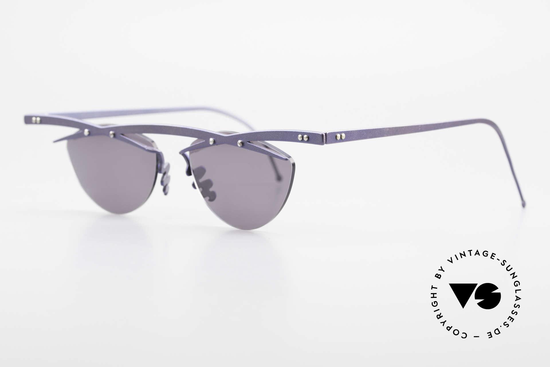 Theo Belgium Tita III 2 Crazy Vintage Sonnenbrille XL, TITA-Serie = XL Titanium Modelle von THEO der 1990er, Passend für Herren und Damen
