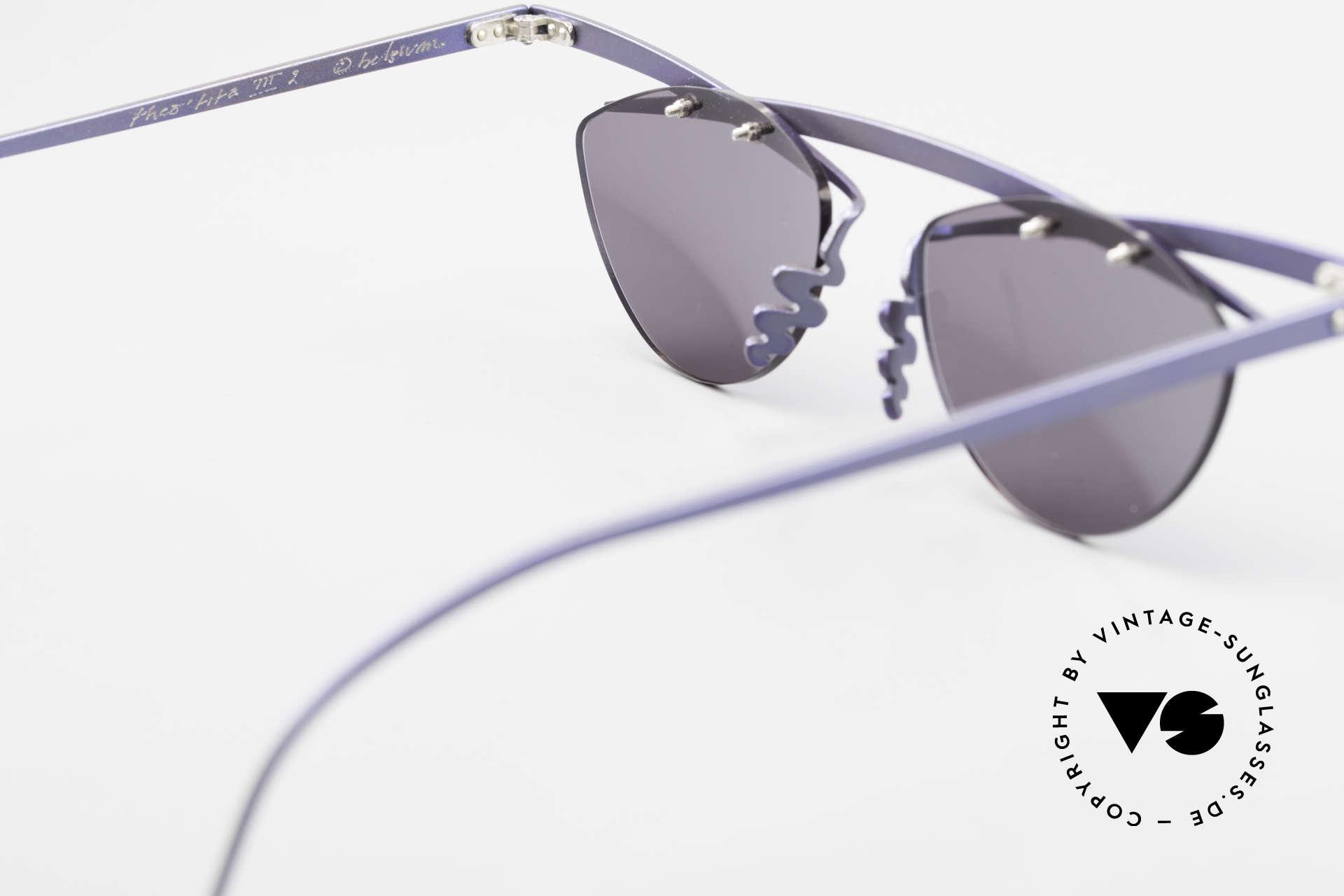 Theo Belgium Tita III 2 Crazy Vintage Sonnenbrille XL, graue Sonnengläser (100% UV) sind ggf. auswechselbar, Passend für Herren und Damen
