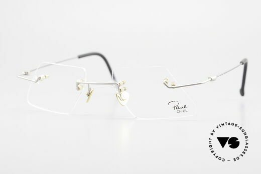Paul Chiol 2001 Randlose Vintage Kunstbrille Details