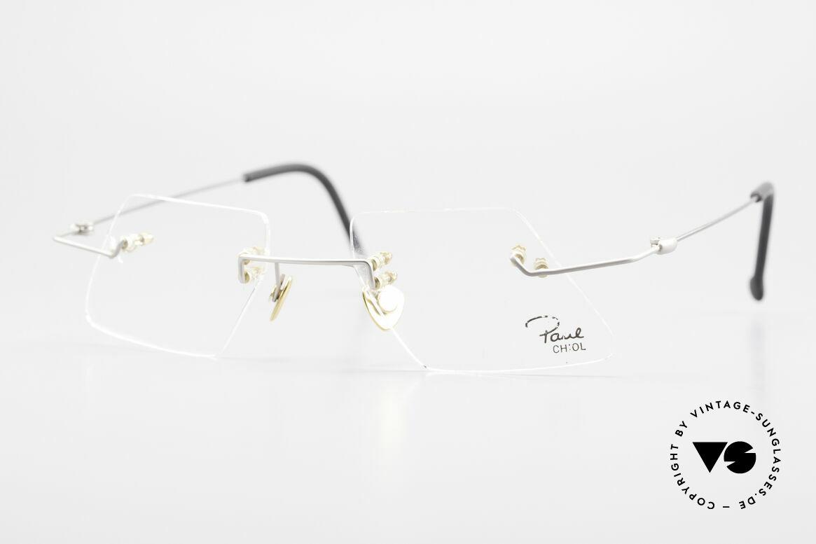 Paul Chiol 2001 Randlose Vintage Kunstbrille, vintage Paul Chiol Designer-Brillenfassung der 90er, Passend für Herren und Damen