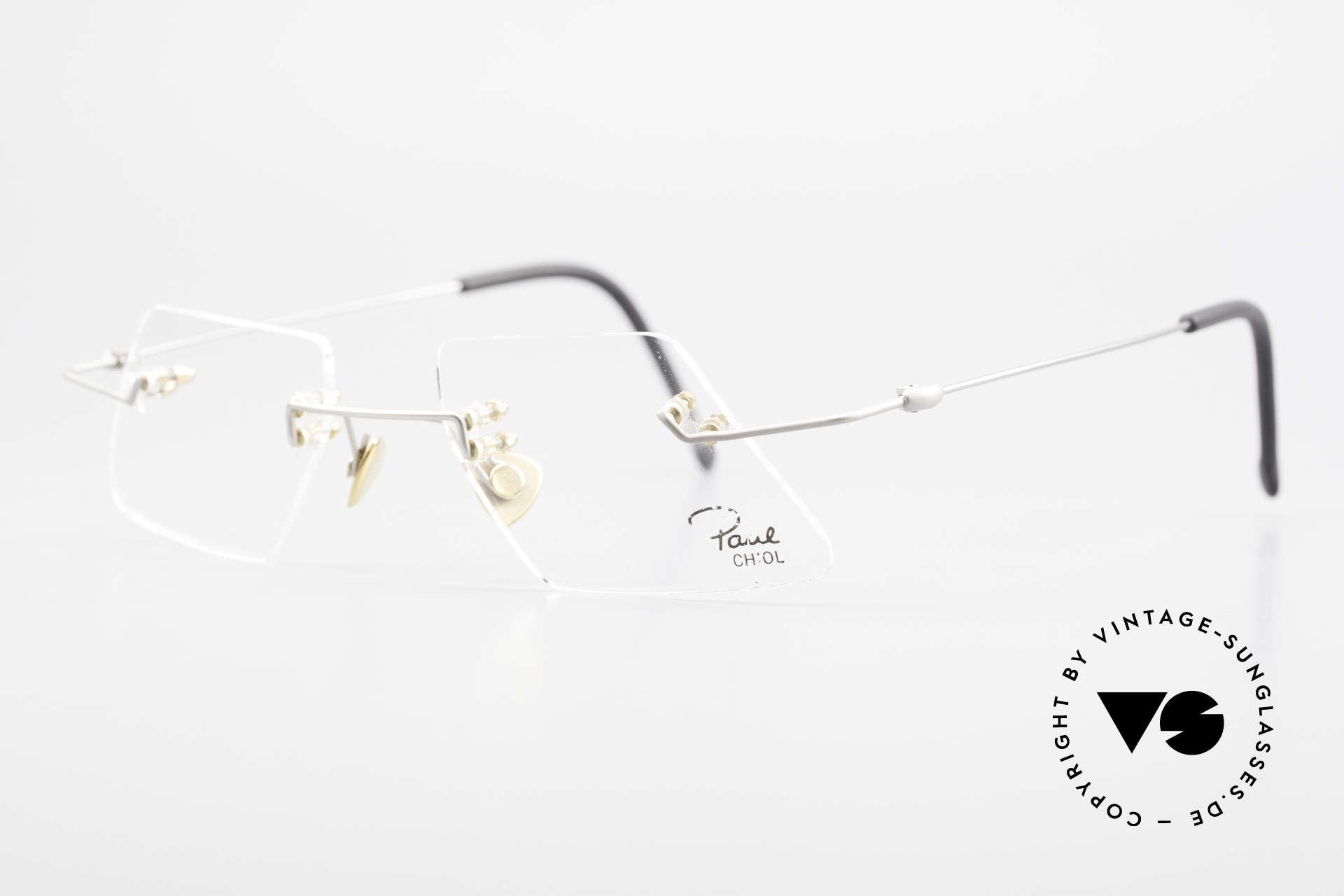 Paul Chiol 2001 Randlose Vintage Kunstbrille, filigran ausgeklügelte Formen; schlichtweg mondän, Passend für Herren und Damen