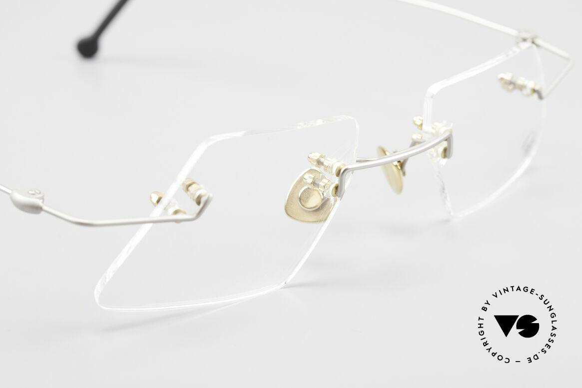 Paul Chiol 2001 Randlose Vintage Kunstbrille, die Fassung ist für optische Gläser gemacht, ABER:, Passend für Herren und Damen