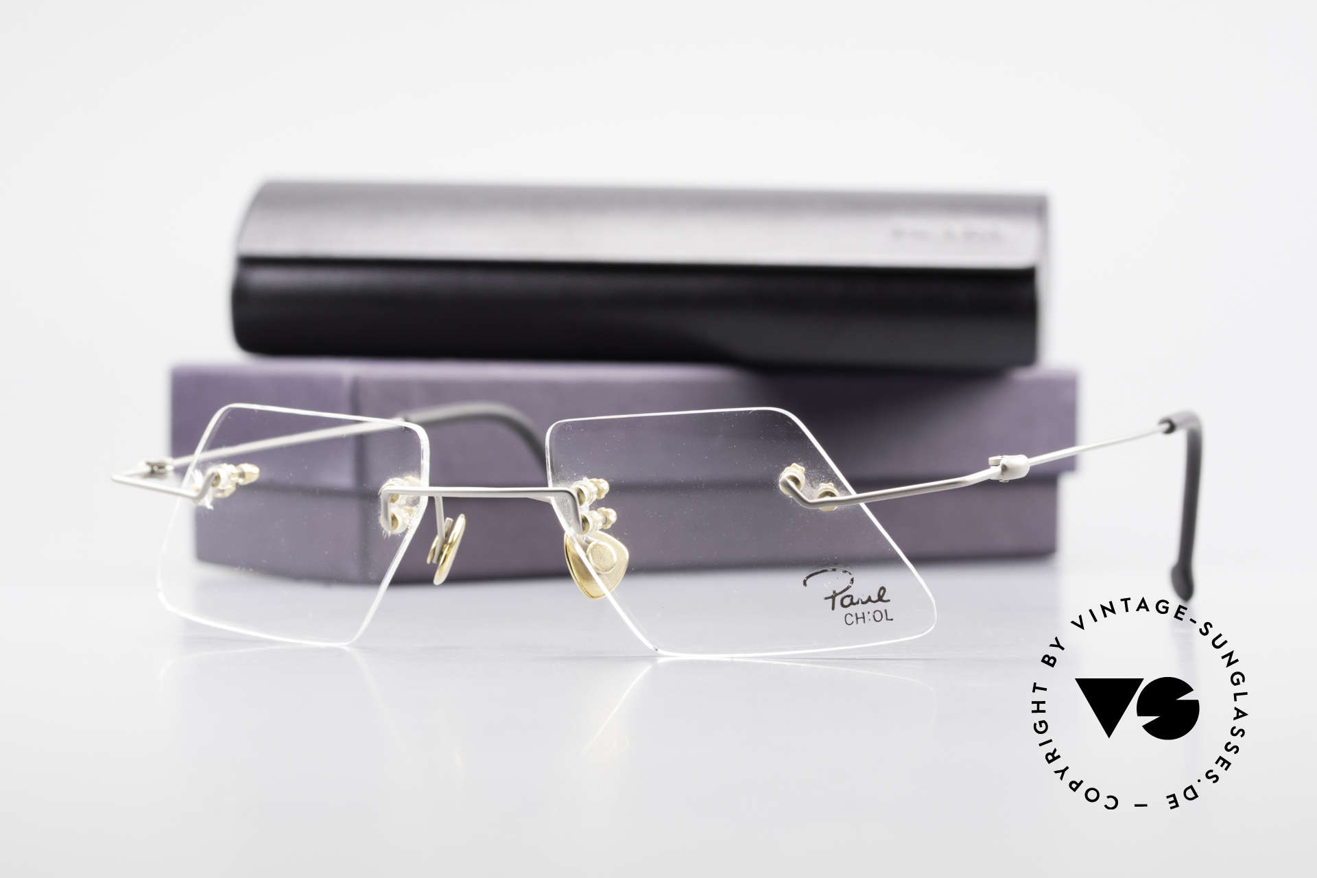 Paul Chiol 2001 Randlose Vintage Kunstbrille, Größe: medium, Passend für Herren und Damen