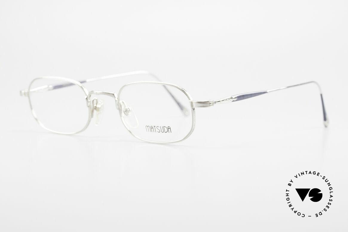 Matsuda 10108 90er Herrenbrille High End, zahlreiche winzige Gravuren zieren die gesamte Fassung, Passend für Herren