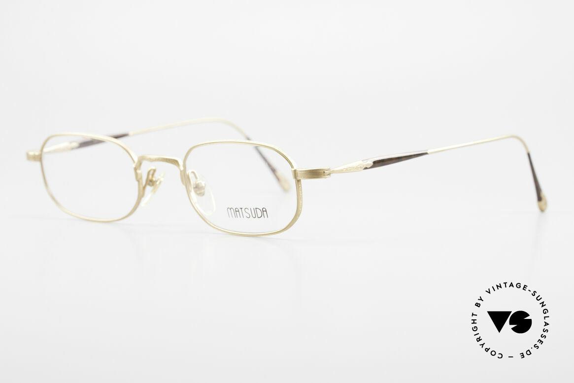 Matsuda 10108 Herrenbrille 90er High End, zahlreiche winzige Gravuren zieren die gesamte Fassung, Passend für Herren