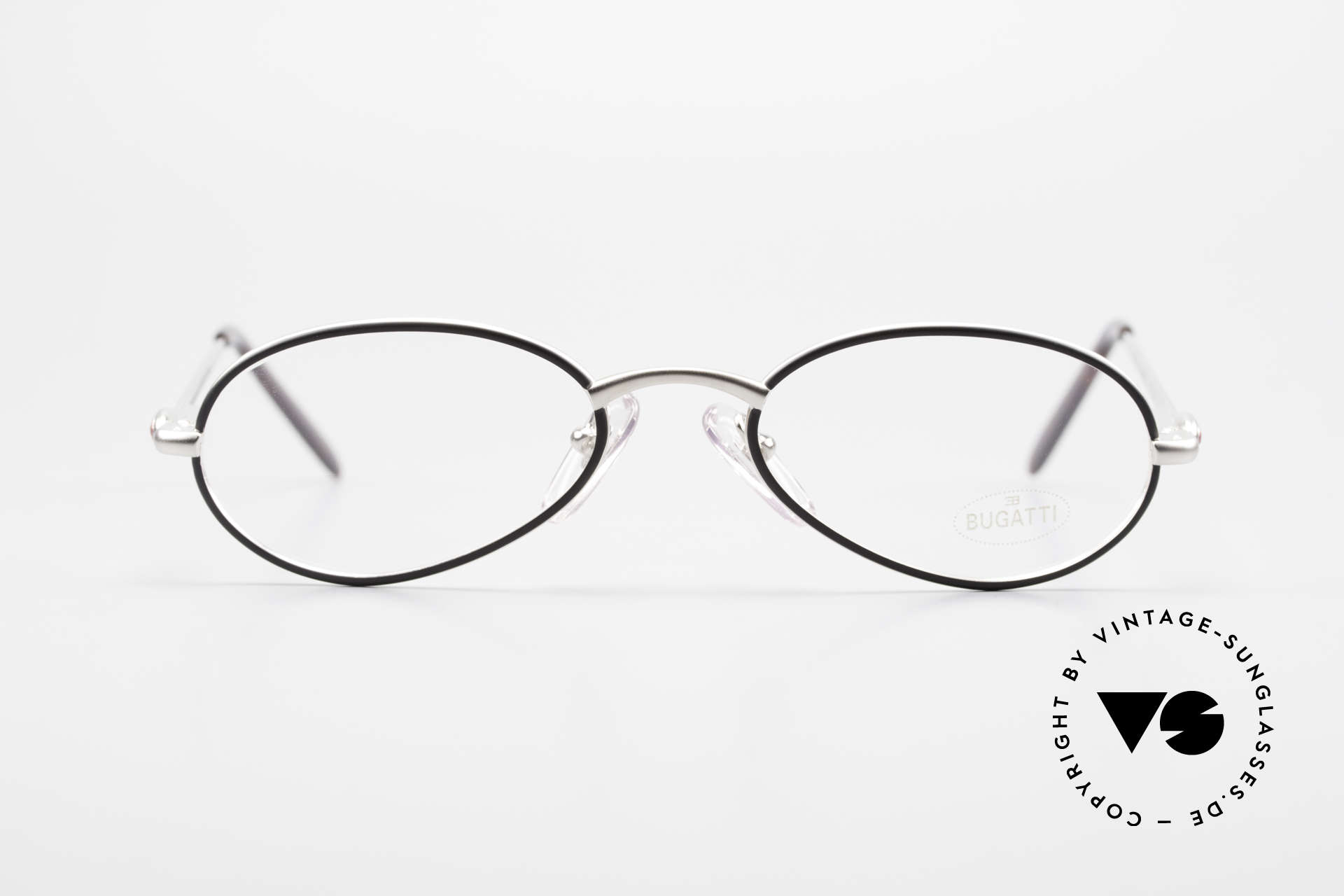 Bugatti 22431 Kleine 90er Vintage Brille, circa Mitte der 1990er in Frankreich produziert, Passend für Herren und Damen