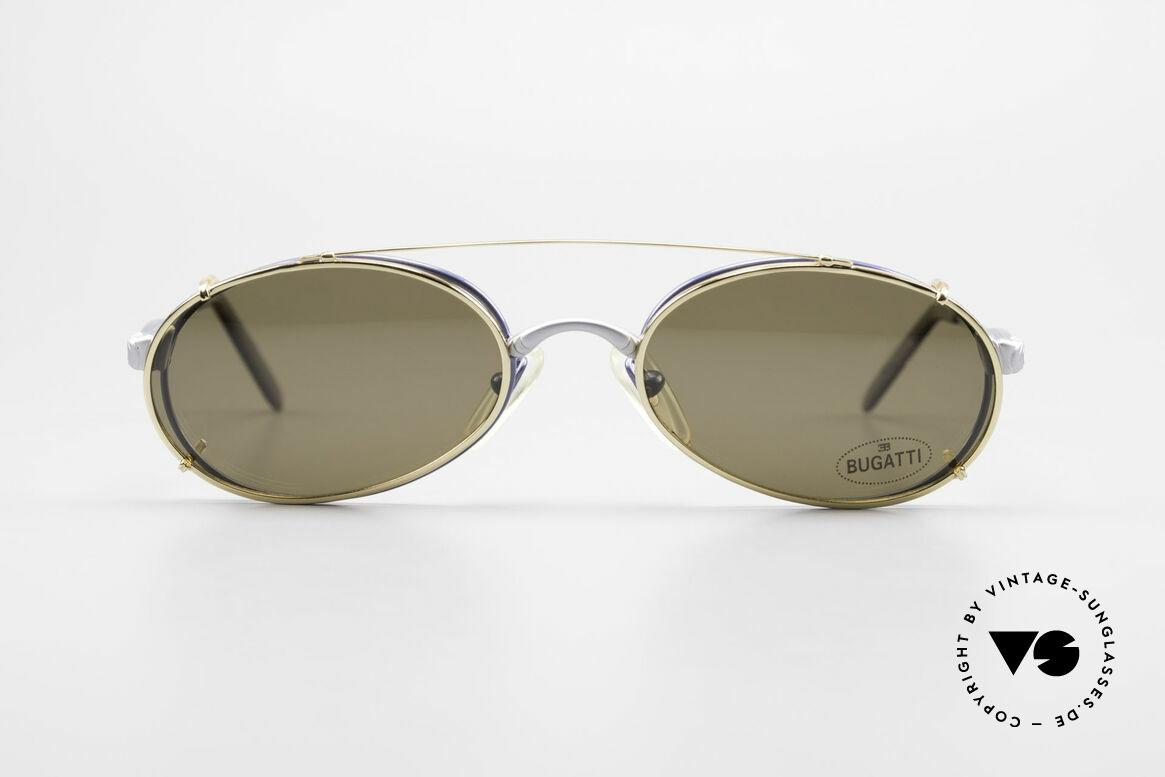 Bugatti 14164 Blaue Fassung Goldener Clip, ovale Brille mit flexiblen Feder-Scharnieren!, Passend für Herren
