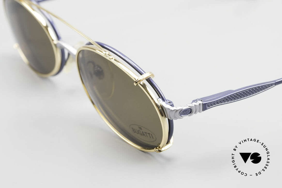 Bugatti 14164 Blaue Fassung Goldener Clip, blau-metallic/silber vs. gold; alles ungetragen, Passend für Herren