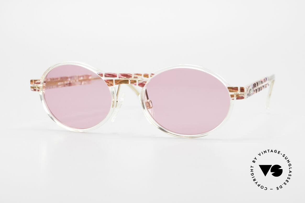 Cazal 510 Rosarote Vintage Brille Oval, seltene vintage Brille der Cazal Crystal 500er Serie, Passend für Damen