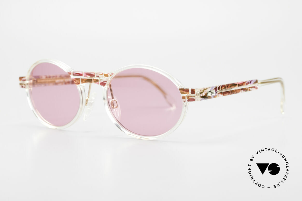 Cazal 510 Rosarote Vintage Brille Oval, limitierte Sonder-Edition mit kristallklarem Rahmen, Passend für Damen