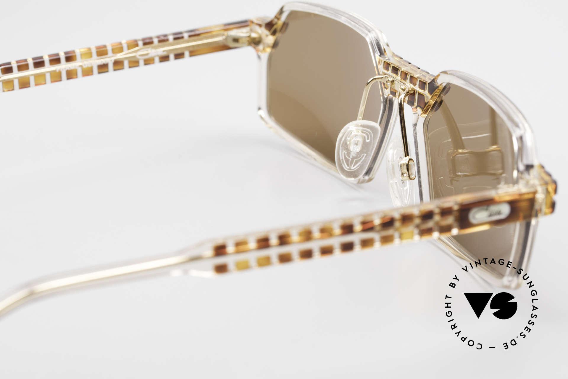 Cazal 511 Limited 90er Sonnenbrille Oval, dunkelbraune Sonnengläser für 100% UV Protection, Passend für Herren und Damen