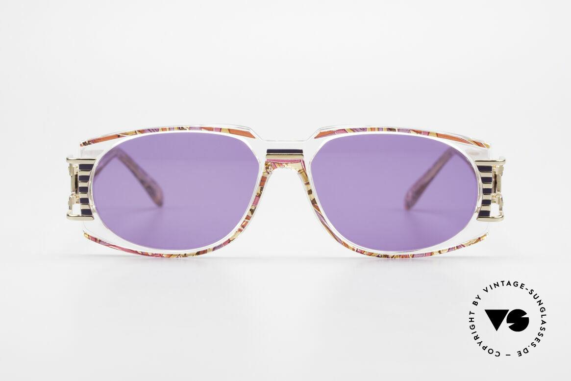 Cazal 372 Rare 90er HipHop Sonnenbrille, grandioses Farbkonzept: himbeer-flieder / transparent, Passend für Herren und Damen