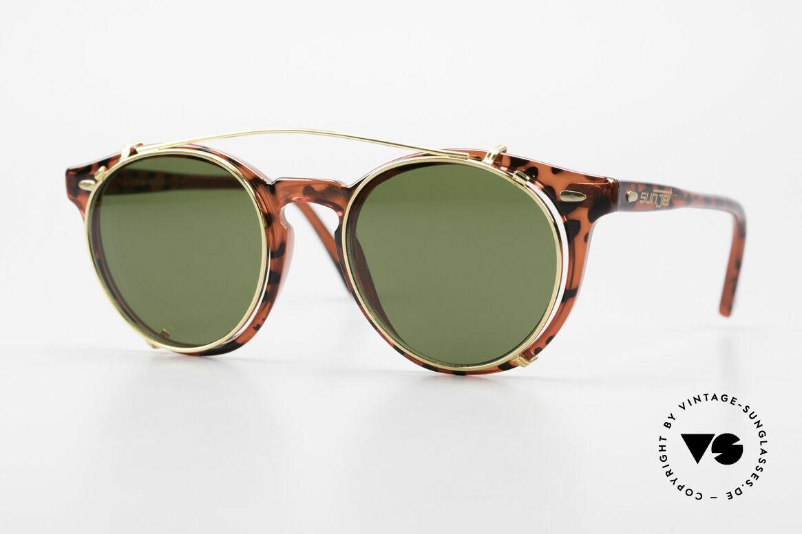 Carrera 5256 Clip Panto Brille Johnny Depp Stil, zeitlose Carrera Sunjet Designerbrille mit Sonnen-Clip, Passend für Herren und Damen