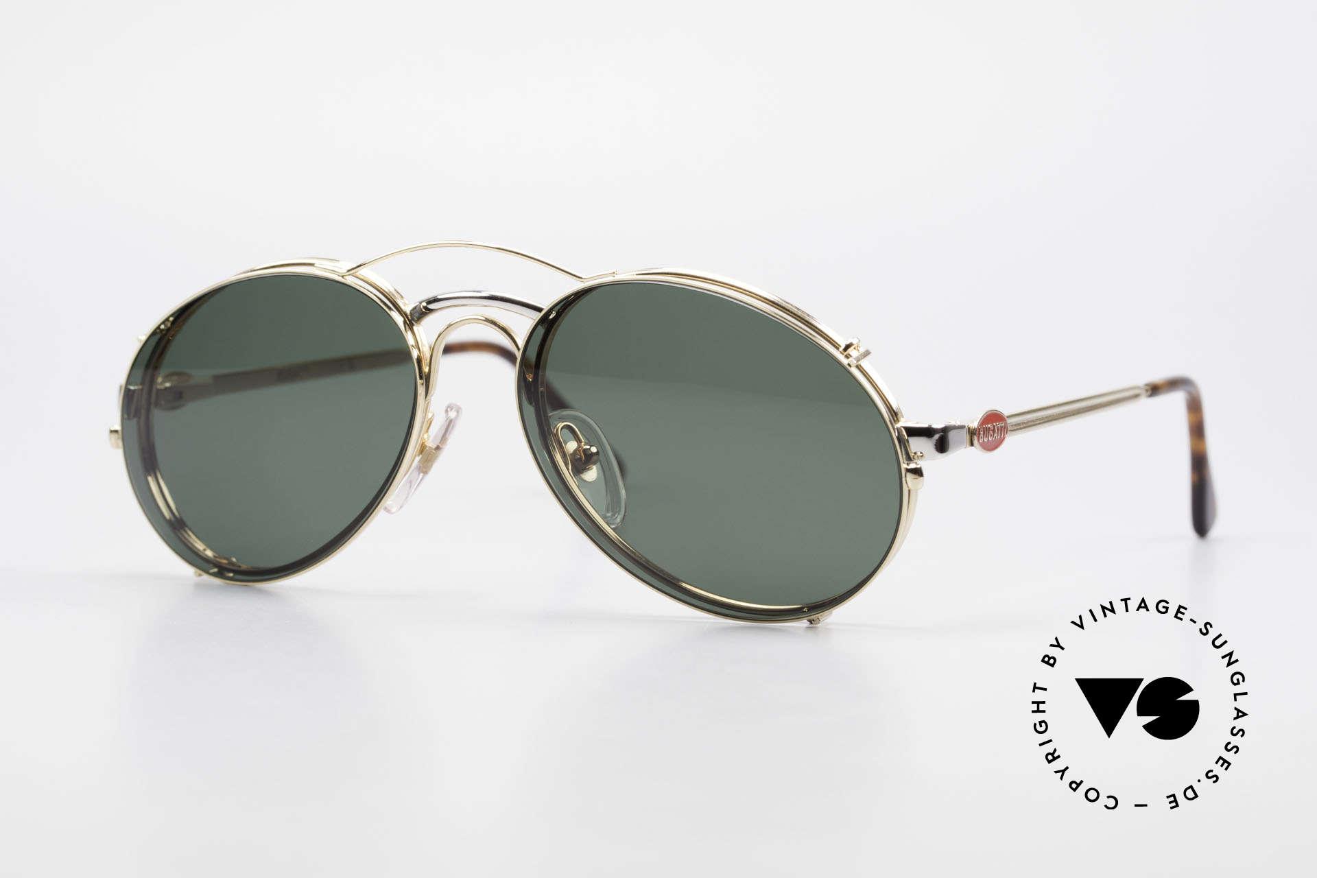 Bugatti 03308 80er Fassung mit Sonnen Clip, klassisches BUGATTI Sonnenbrillen-Design von 1989, Passend für Herren