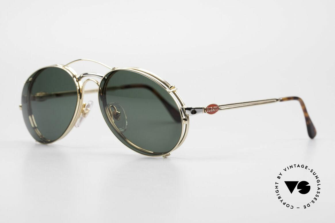 Bugatti 03308 80er Fassung mit Sonnen Clip, Rahmen mit Federscharnieren für optimalen Komfort, Passend für Herren