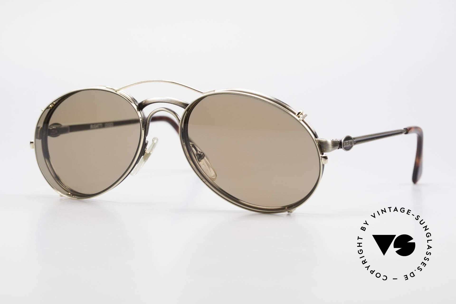 Bugatti 03323 80er Herrenbrille mit Clip On, klassische BUGATTI vintage Sonnenbrille von 1989, Passend für Herren