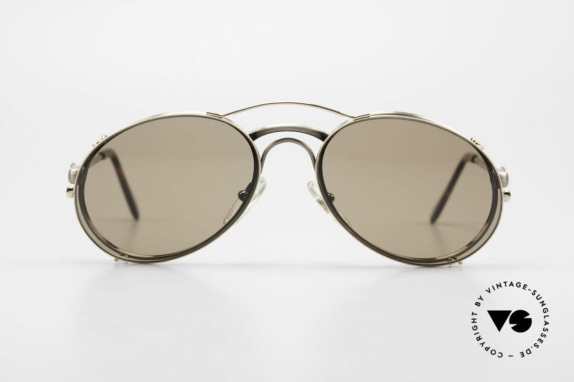 Bugatti 03323 80er Herrenbrille mit Clip On, legendäre Bugatti Herren(Tropfen)-Form in Gr. 50mm, Passend für Herren