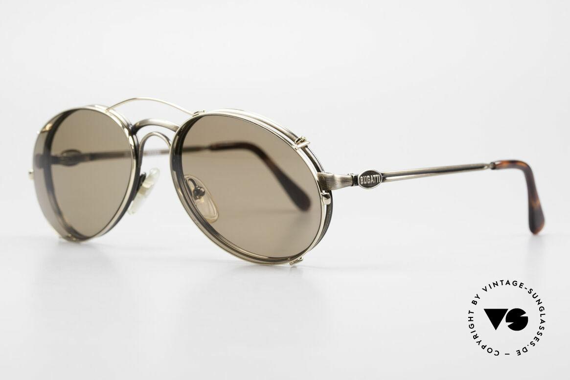 Bugatti 03323 80er Herrenbrille mit Clip On, Rahmen mit Federscharnieren für optimalen Komfort, Passend für Herren