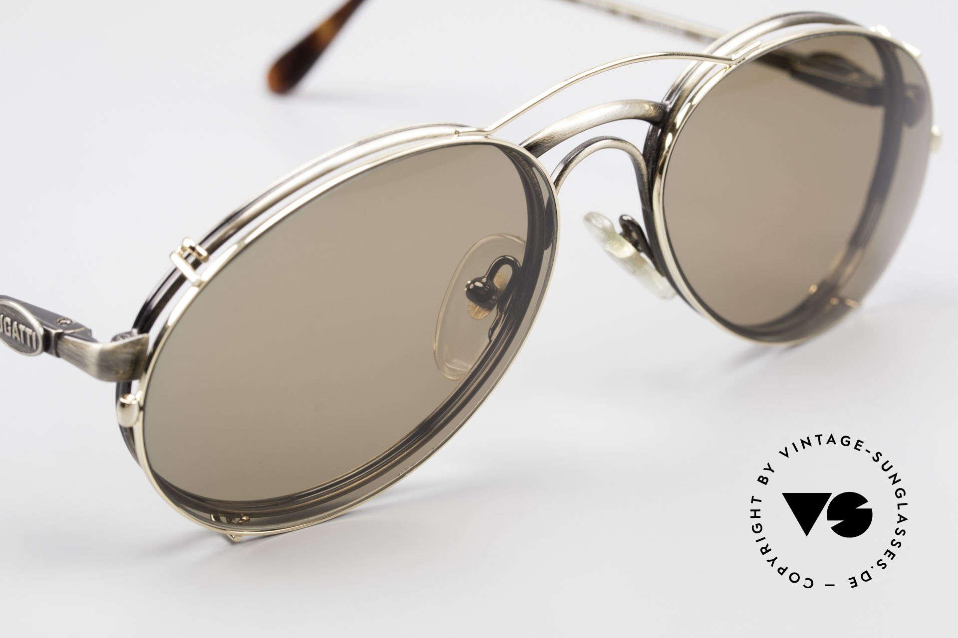 Bugatti 03323 80er Herrenbrille mit Clip On, ungetragen (wie alle unsere vintage Bugatti Modelle), Passend für Herren