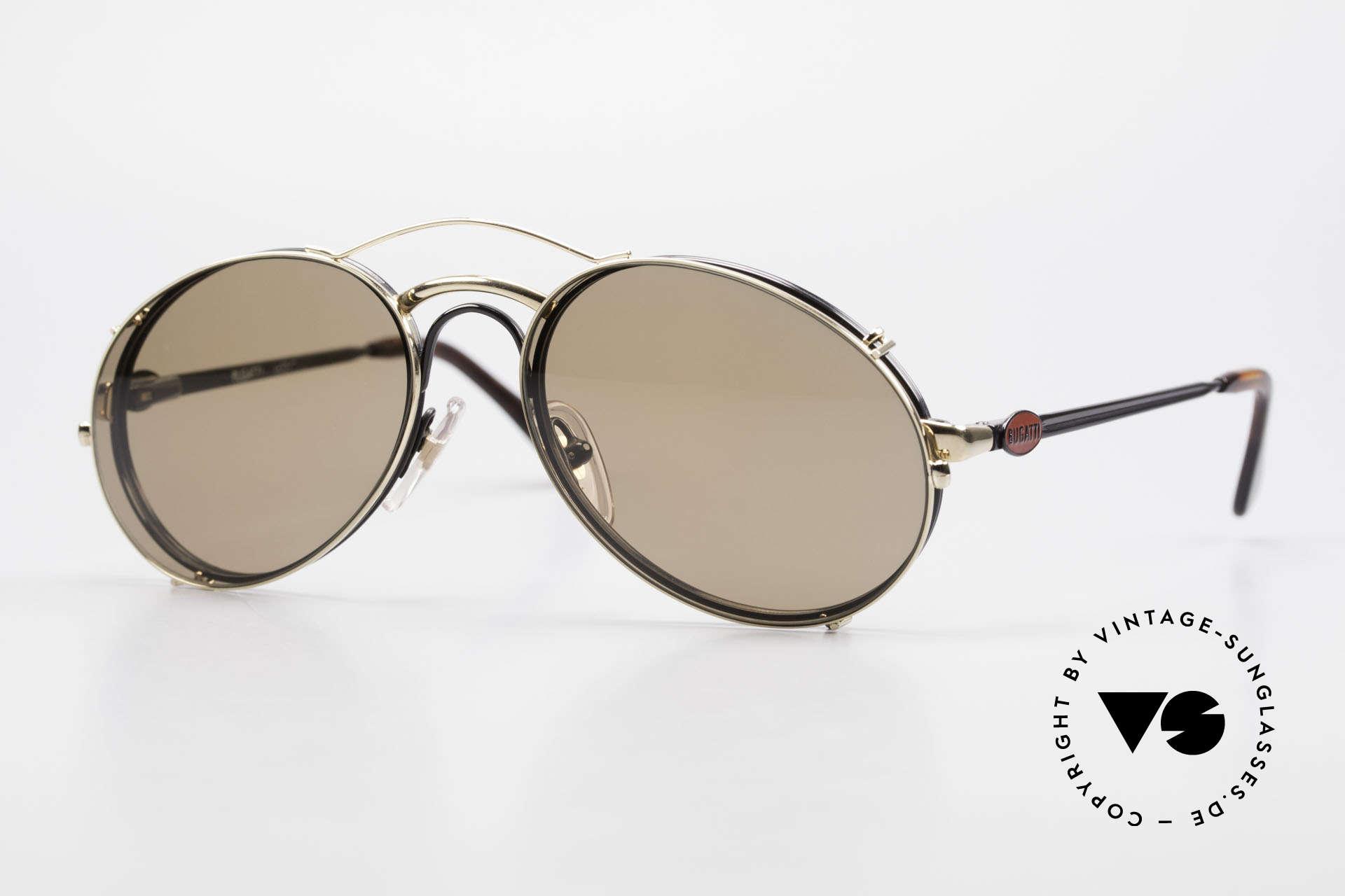 Bugatti 03326 80er Sonnenbrille Clip On Men, klassische BUGATTI vintage Sonnenbrille von 1989, Passend für Herren