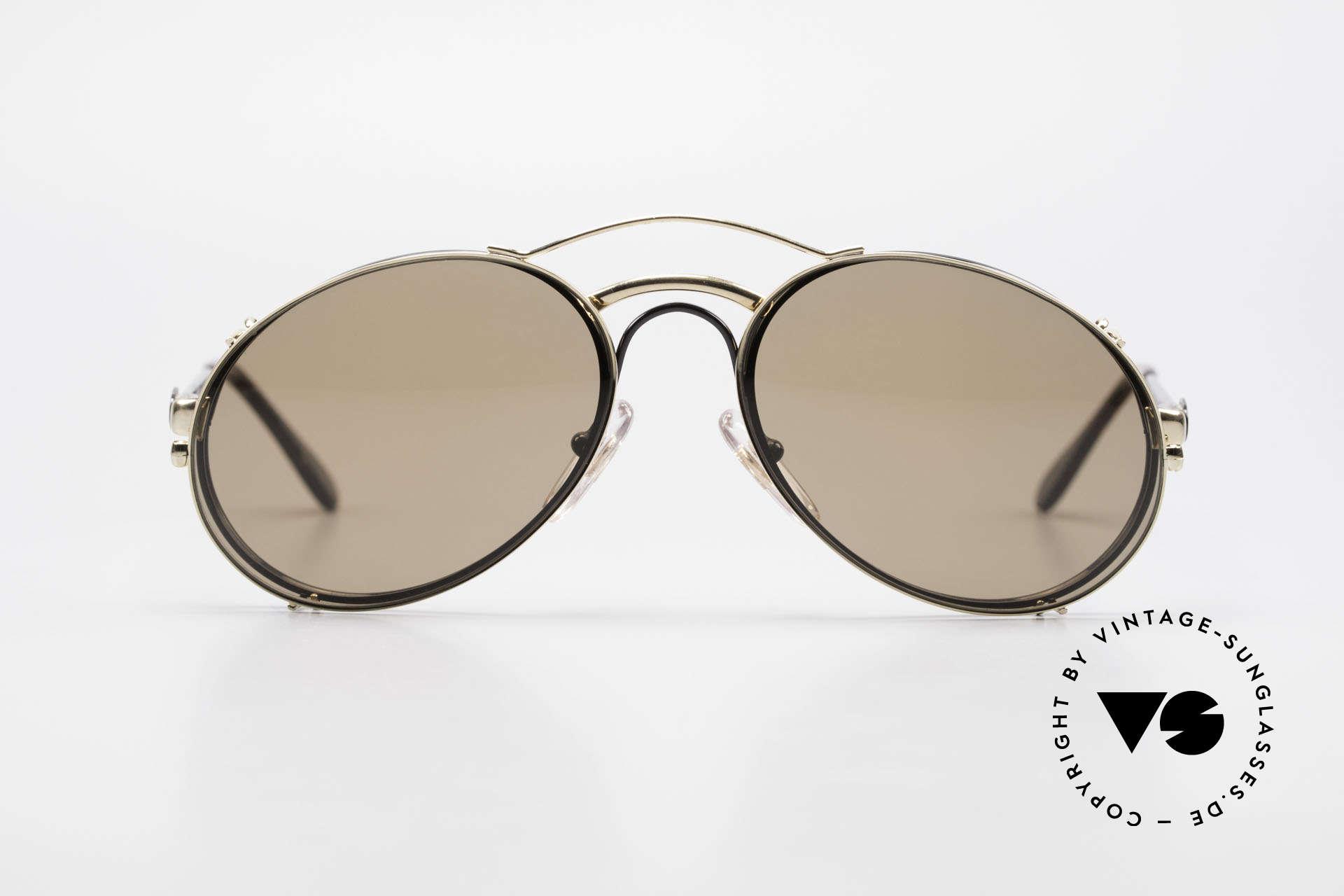 Bugatti 03326 80er Sonnenbrille Clip On Men, legendäre Bugatti Herren(Tropfen)-Form in Gr. 50mm, Passend für Herren